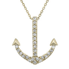 Diamond-Accent 10K Yellow Gold Anchor Mini Pendant Necklace