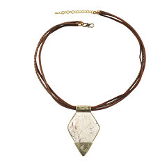 Art Smith by BARSE Lab-Created African Opal Brass and Leather Pendant Necklace