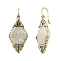 Art Smith by BARSE Lab-Created African Opal Brass Drop Earrings