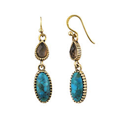Art Smith by BARSE Brass Turquoise and Smoky Quartz Drop Earrings