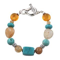 Art Smith by BARSE Multi-Stone Brass Toggle Bracelet