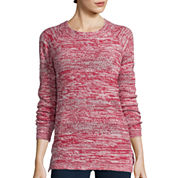 St. John's Bay® Long-Sleeve Marled Scoopneck Sweater- Petite