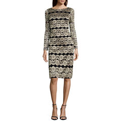 Jessica Howard Long Sleeve Lace Stripe Shift Dress