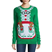 Tiara International Long Sleeve Crew Neck Acrylic Pullover Sweater