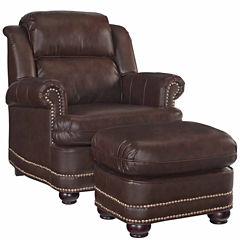 Beau Chair Ottoman Faux Leather Roll-Arm Chair