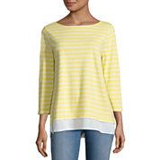 St. John's Bay 3/4 Sleeve Boat Neck T-Shirt