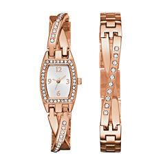 Geneva Womens Rose Gold-Tone Bangle Watch Boxed Set