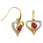 Sparkle Allure 1 CT. T.W. Red Ruby Gold Over Brass Drop Earrings