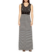 By Artisan Sleeveless Crochet-Bodice Striped Maxi Dress