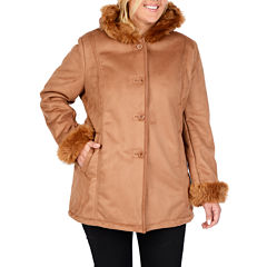 Excelled Hooded Faux-Shearling Coat - Plus
