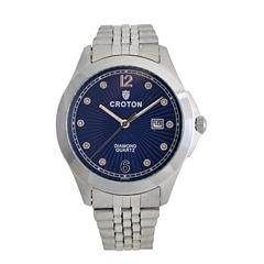 Croton Mens Silver Tone Bracelet Watch-Cn307562ssbl