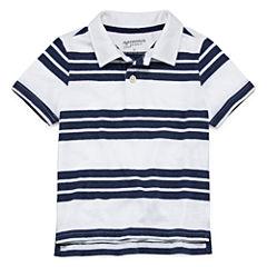 Arizona Short Sleeve Stripe Pique Polo Shirt - Toddler Boys