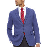 Stafford Linen Cotton Mid Blue Herringbone Sport Coat- Classic Fit