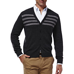 Haggar V Neck Long Sleeve Knit Cardigan