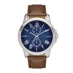 Geneva Mens Blue Dial Brown Strap Watch