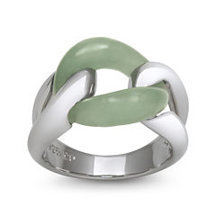 Green Jade Sterling Silver Interlocking Ring