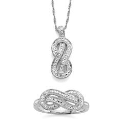 Infinite Promise 1/10 CT. T.W. Diamond in SterlingSilver 2-pc. Boxed- Set Pendant Necklace and Ring