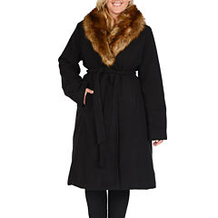 Excelled® Faux-Wool Long Coat with Faux-Fur Trim - Plus
