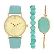 Womens Blue Strap Gold Tone Dial Watch Boxed Set-Wac5266jc