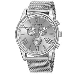 Akribos XXIV Mens Silver Tone Bracelet Watch-A-813ss