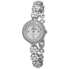 Burgi Womens Silver Tone Bracelet Watch-B-139ss