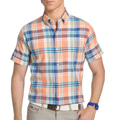 IZOD Short Sleeve Plaid Chambray Button-Front Shirt