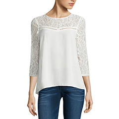 Decree Lace Yoke Swing Top-Juniors