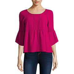 Decree 3/4 Sleeve Scoop Neck Blouse-Juniors