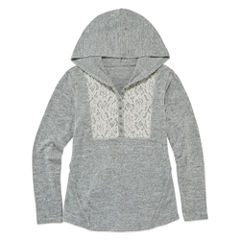 Arizona Long Sleeve Soft Crochet Yoke Hoodie