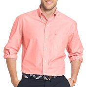 IZOD Mens Long Sleeve Essential Solid Shirt