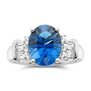 Blue Topaz & White Sapphire Ring