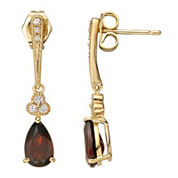 Red Garnet & White Sapphire Earrings