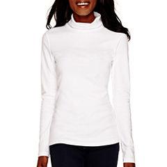St. John's Bay® Long-Sleeve Knit Turtleneck Top