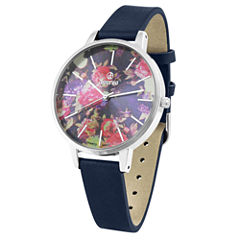 Decree® Womens Blue Floral Watch