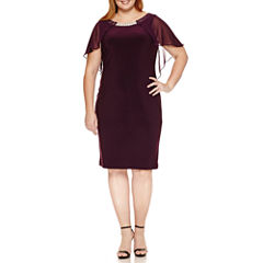 Blu Sage Short Sleeve Embellished Sheath Dress-Plus