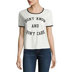 Short Sleeve Scoop Neck Graphic Ivory Vintage Black Ringer T-Shirt