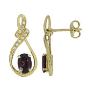 Genuine Garnet & Lab-Created White Sapphire Earrings