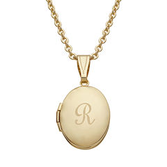 Personalized Gold Over Brass Child's Engraved Initial Locket Pendant Necklace