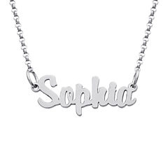 Personalized Sterling Silver Girls Script Name Necklace
