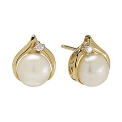 Certified Sofia™ Cultured Freshwater Pearl & Diamond-Accent Earrings