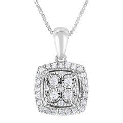 TruMiracle® 1/4 CT. T.W. Diamond Sterling Silver Square Pendant Necklace
