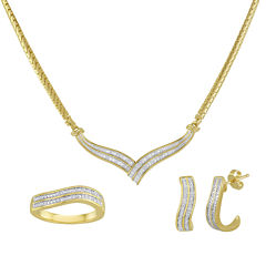 1/10 CT. T.W. Diamond 14K Gold Over Brass Boxed 3-pc. Wave Jewelry Set