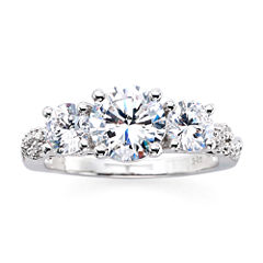 DiamonArt® Sterling Silver Cubic Zirconia 3-Stone Ring