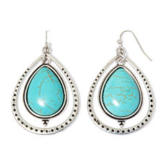 Aris by Treska Simulated Turquoise Teardrop Hoop Earrings