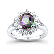Genuine Mystic Fire Topaz and Lab-Created White Sapphire Ring