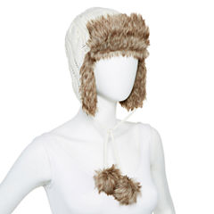 Mixit™ Faux-Fur Trim Cable-Knit Trapper Hat