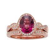 Genuine Rhodolite and 1/3 CT. T.W. Diamond 10K Rose Gold Ring Set