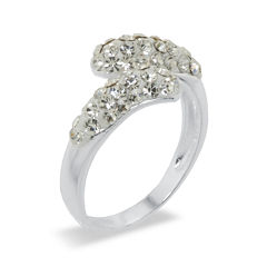 Sparkle Allure White Crystal Bypass Ring