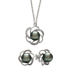 Genuine Tahitian Pearl and Diamond-Accent Flower Pendant Necklace & Earring Set