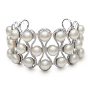 Cultured Freshwater Pearl Cuff Bangle Bracelet